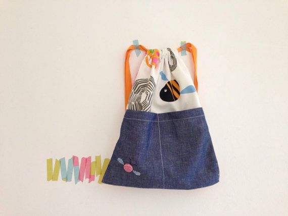 The bugskeeper drawstring backpack nursery by bymamma190 on Etsy.