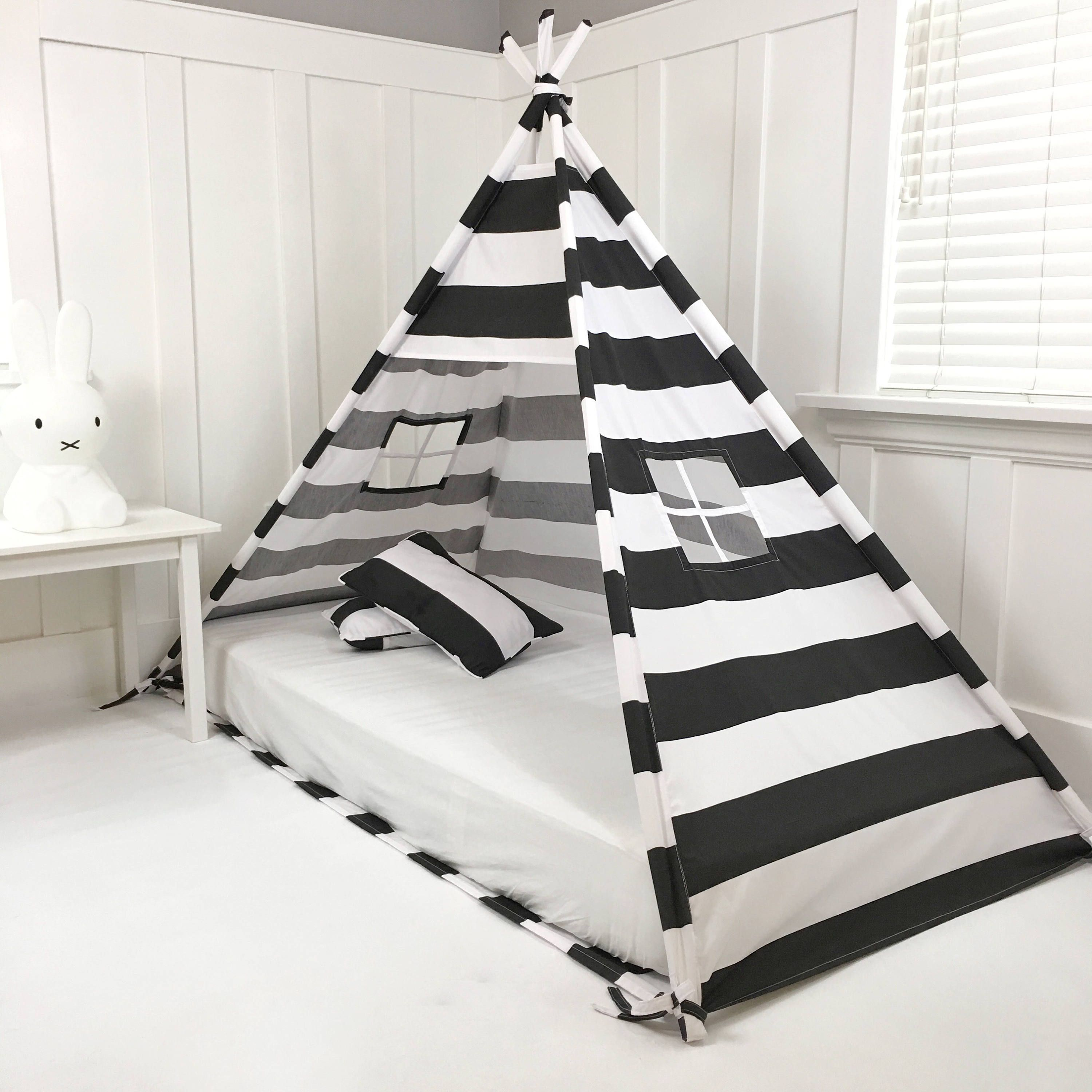 Play Tent Canopy Bed in Black and White Stripe Bed tent