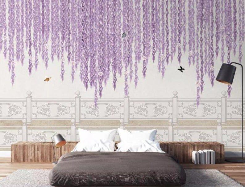 3d Purple Wicker Butterfly Wallpaper Removable Self Adhesive Etsy Butterfly Wallpaper Wallpaper Purple Rooms