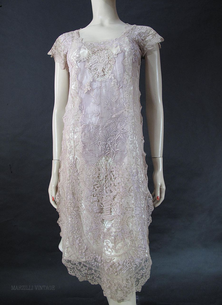 1920s Lavender Embroidered Mixed Lace Dress With Birds | Dreamy ...
