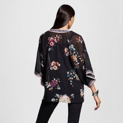 Women's Border Print Kimono - Xhilaration (Juniors') - Black XL/Xxl