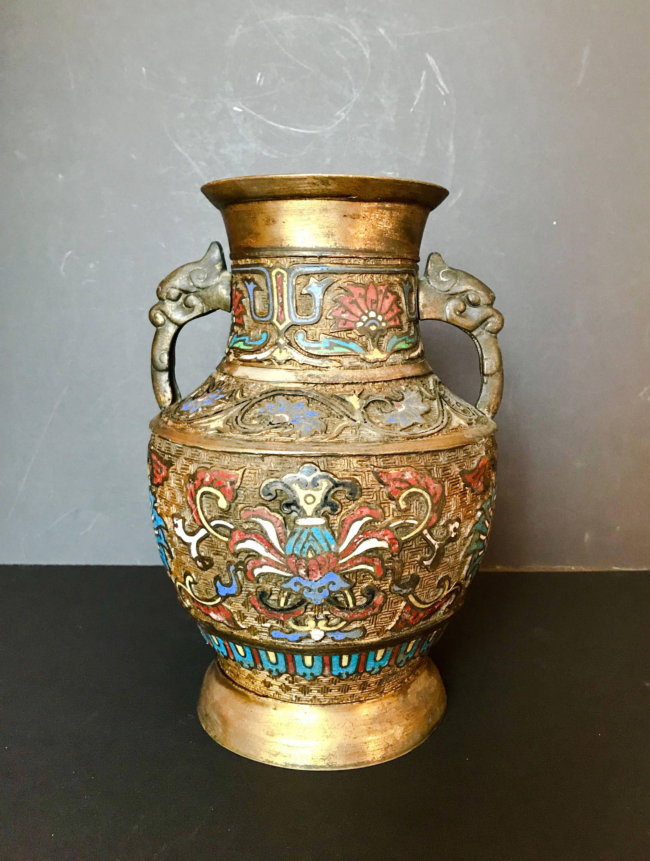Antique japanese vase champleve cloisonne enameled bronze large antique japanese vase champleve cloisonne enameled bronze large circa 1900 reviewsmspy