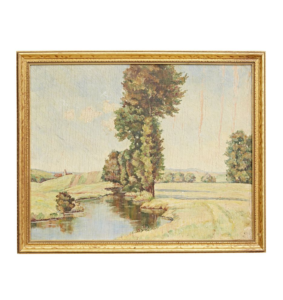 Pastel Toned Plein Air Landscape Painting in Gilt Frame