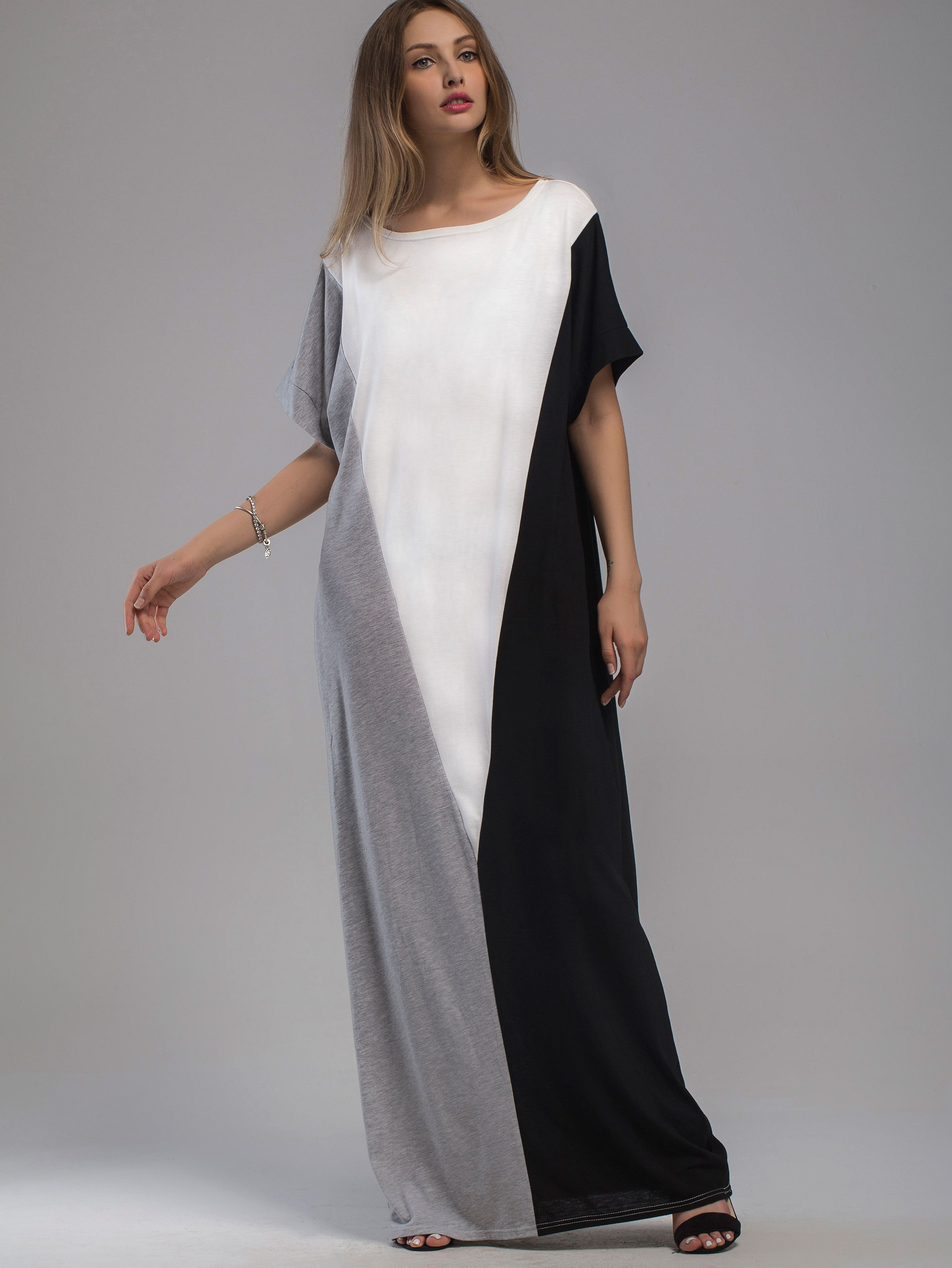Color Block Full Length Dress With Pockets. Eerbare kleding. Eng ...