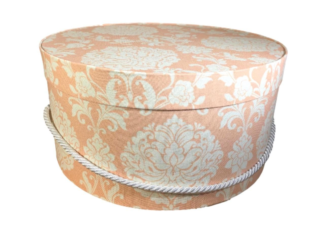Hat Box In Peach Damask Large Decorative Fabric Covered Hat Boxes Round Storage Box Keepsake Boxes With Lid Nesting Box Fabric Covered Boxes Damask Hat Box