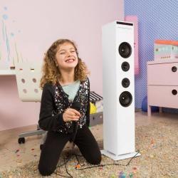 Karaboom Cd Karaoke-Anlage Bluetooth Mp3 Usb-charger Mikrofon Fb weiß AunaAuna #bestkaraokemachine