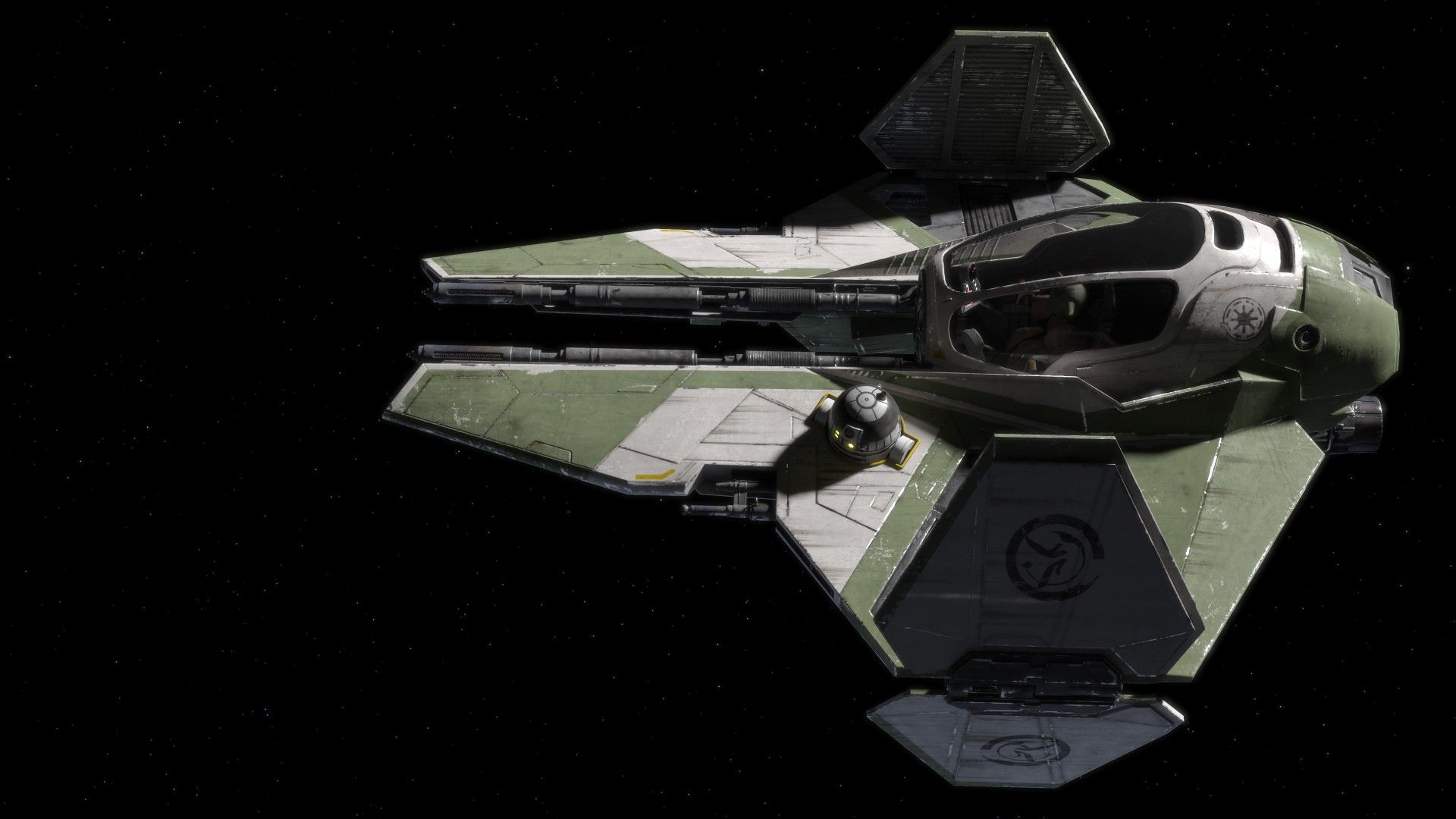 star wars starwars eta 2 actis jedi interceptor yoda 3d rendered
