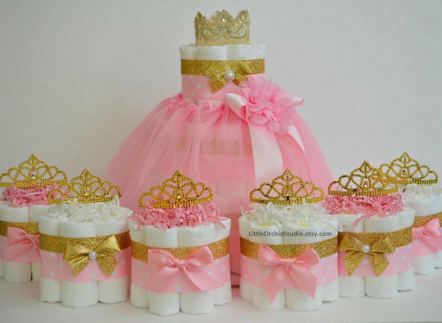 Pink and gold baby shower princess diaper cake unique
