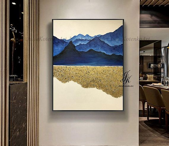 Large Abstract Oil Painting Of Mountains Gold Leaf Art Wall Art Gold