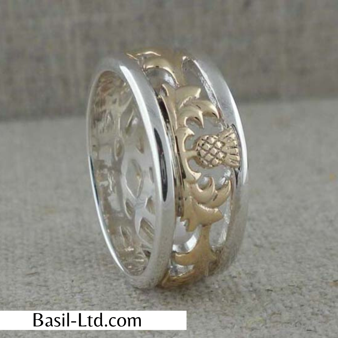 Sterling Silver & 10K Scottish Thistle Band — BasilLtd