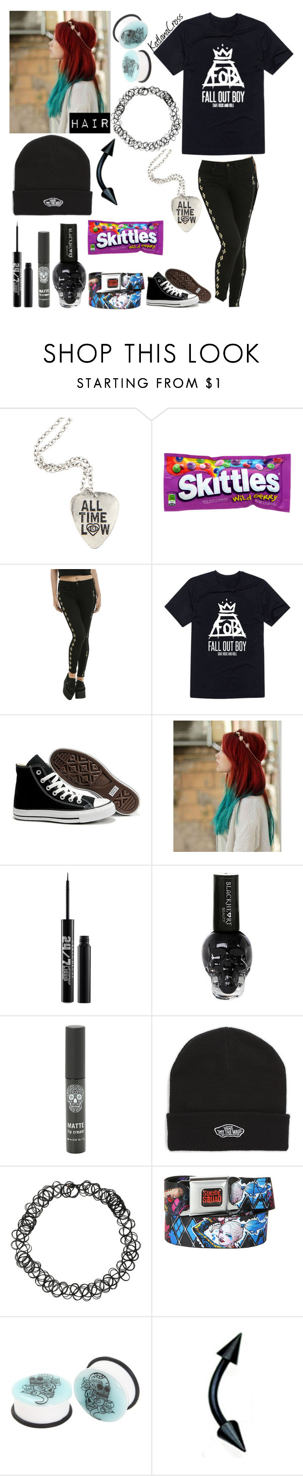 """""""Style #404"""" by katlanacross ❤ liked on Polyvore featuring Converse, Urban Decay and Vans"""