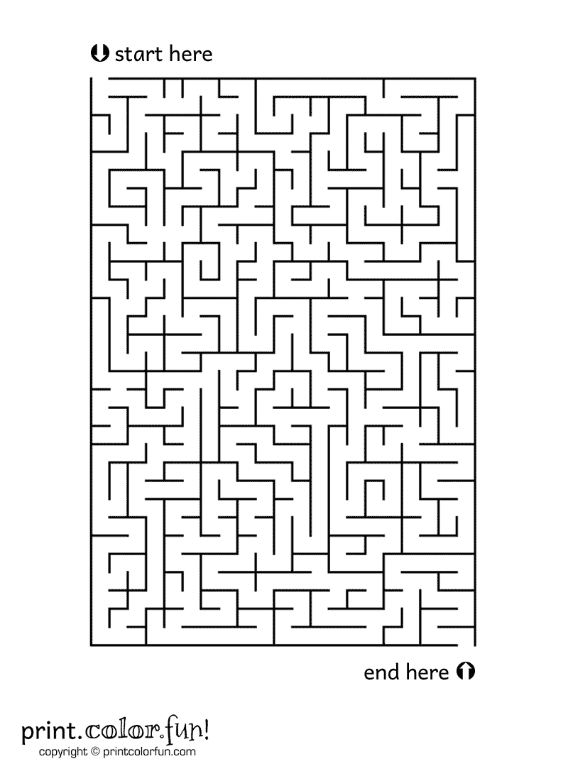 Medium Size Maze Coloring Page Print Color Fun Maze Worksheet Halloween Maze Maze