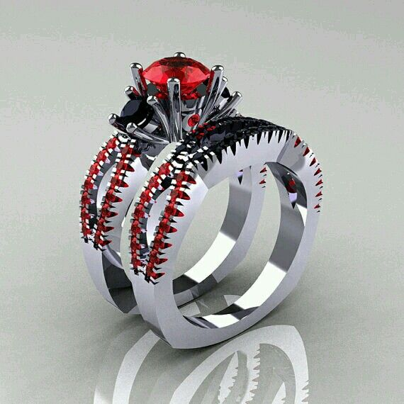 This is a badass wedding ring set Unique I do Rings Pinterest