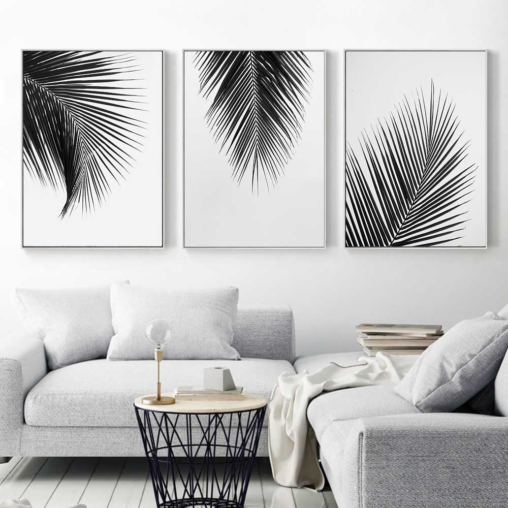 5 12 Black White Plant Coconut Leaves Canvas Poster Art Print