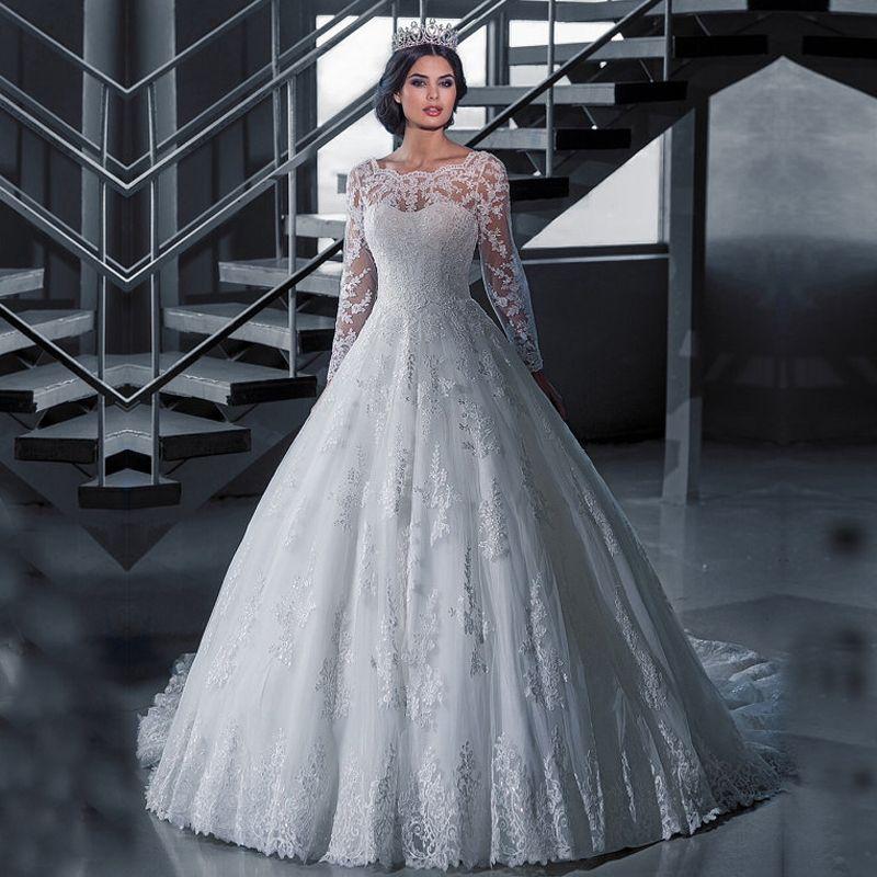 Berühmt Lange Hülse Eine Linie Hochzeitskleid Fotos - Brautkleider ...