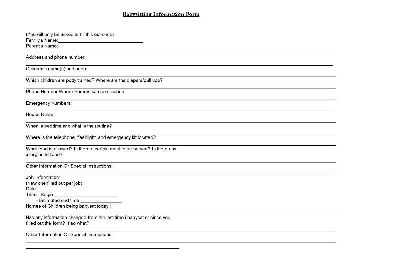 Babysitting For Parents To Fill Out Forms