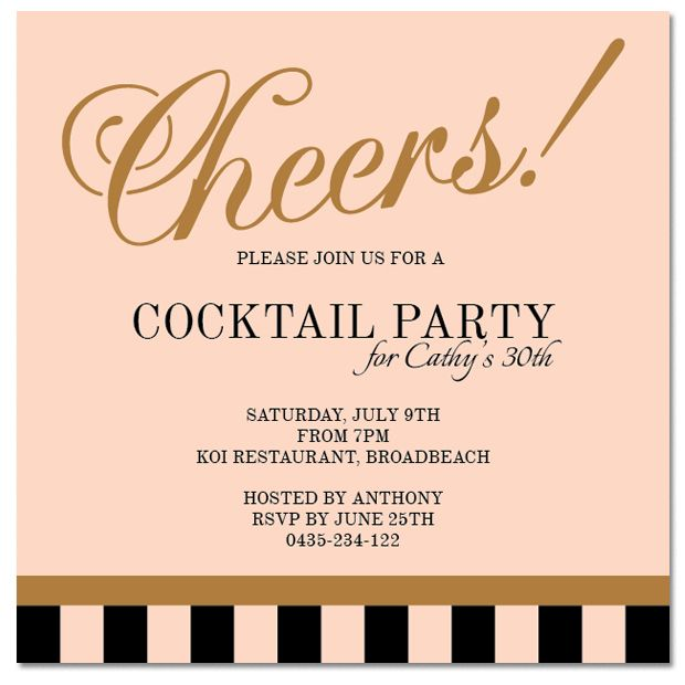 From 1 each Cheers Cocktail Personalised Invitations from Paper