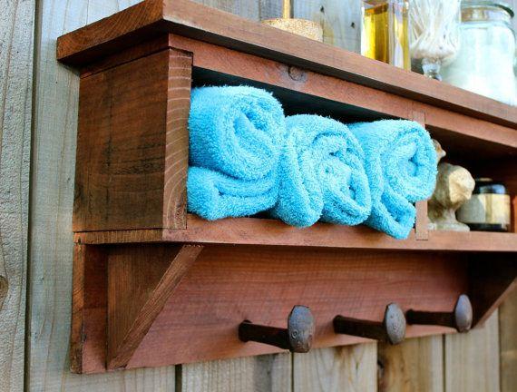 Rustic Decor Bathroom Cubby Shelf Railroad Spike Shelf Entry Coat