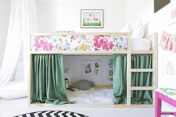 Girls. mommo design  IKEA HACKS FOR KIDS   girly Kura bed   Kids rooms