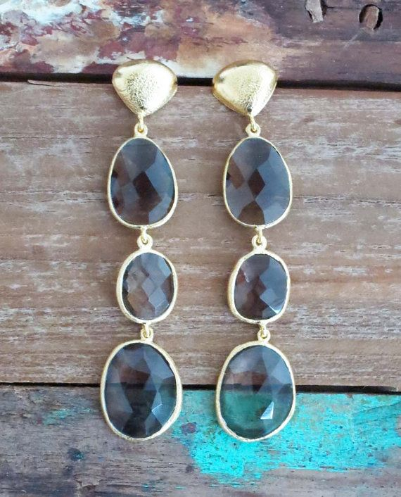 18K Gold Plated Earrings: Smoky Quartz
