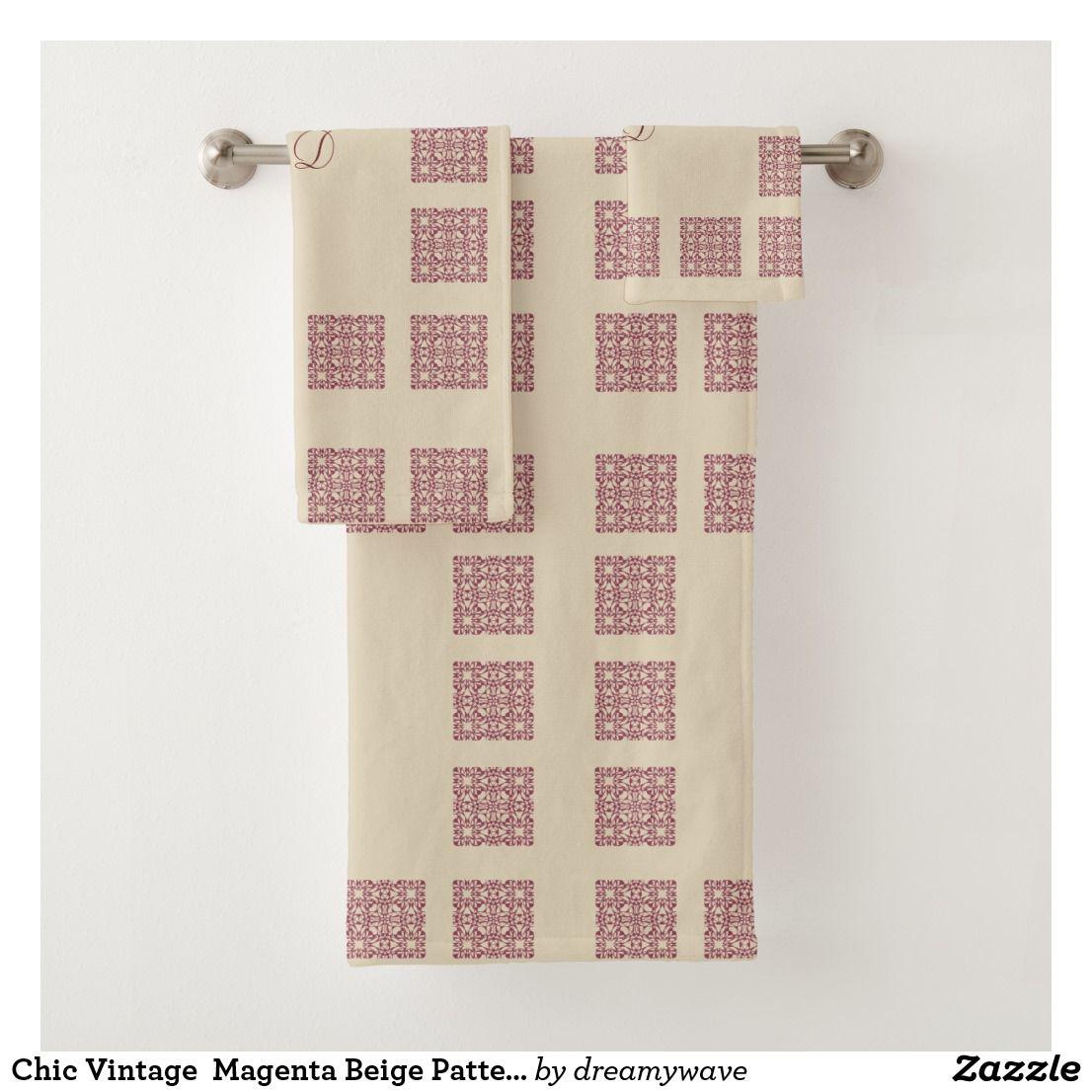 Chic Vintage  Magenta Beige Pattern Towel Set