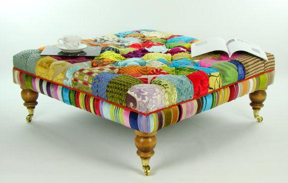Bespoke Large Patchwork Footstool Coffee Table In Designer Velvets