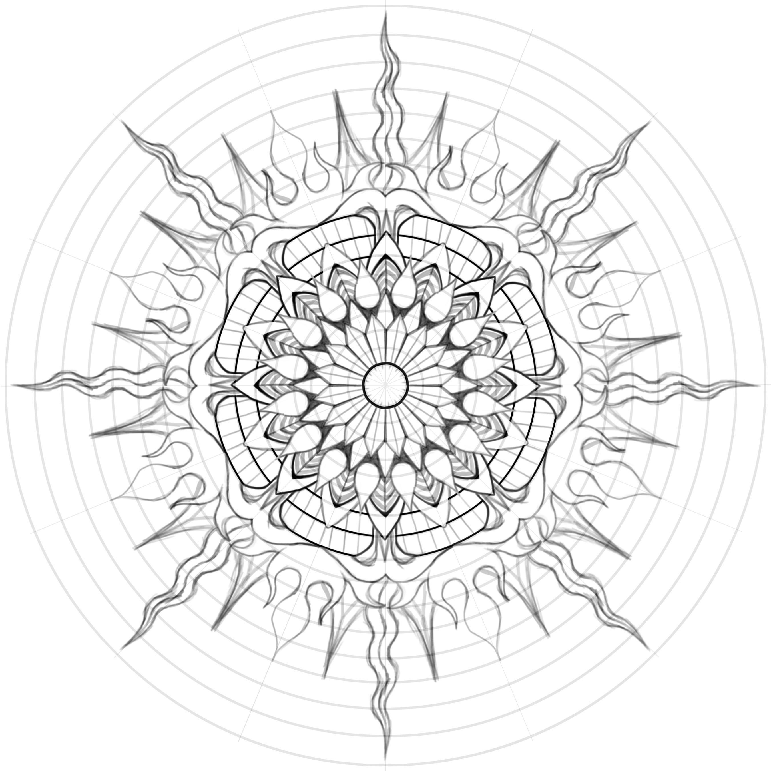 water mandala coloring pages | Art Deco Fire Water Mandala? by Gabe McGinn - Skillshare ...