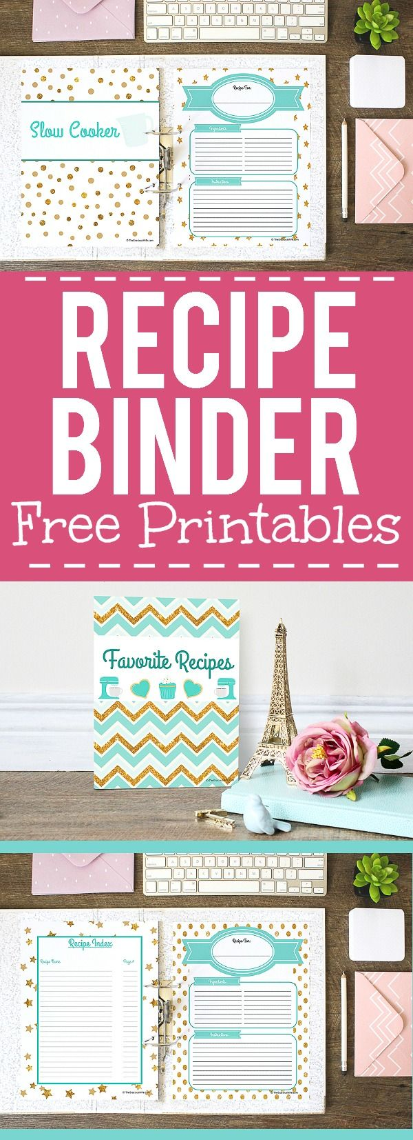 This is a picture of Nifty Free Printable Recipe Binder