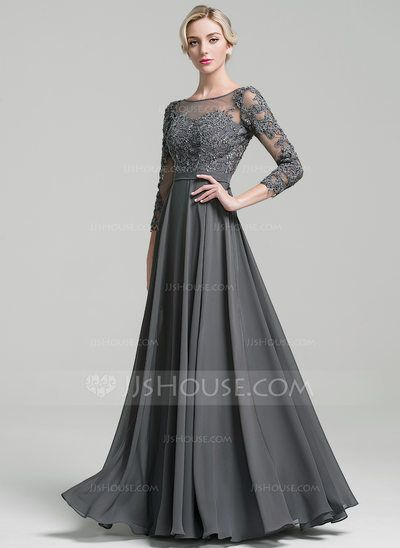 7b0000486094 A-Line Princess Scoop Neck Floor-Length Beading Sequins Zipper Up Sleeves 3 4  Sleeves No Steel Grey General Plus Chiffon Height 5.7ft Bust 33in  Waist 24in ...