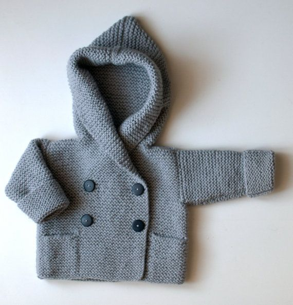 Hand Knit Hoodie Baby Jacket  03 months by novelopt on Etsy, €30.00