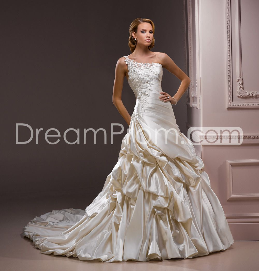 Elite wedding dresses  Attractive Aline Oneshoulder FloorLength Chapel Ruched Wedding