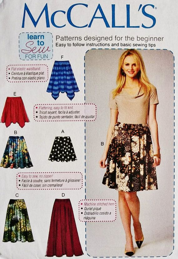 A Learn to Sew Pattern Easy Skirt Pattern McCall\'s by blue510 ...