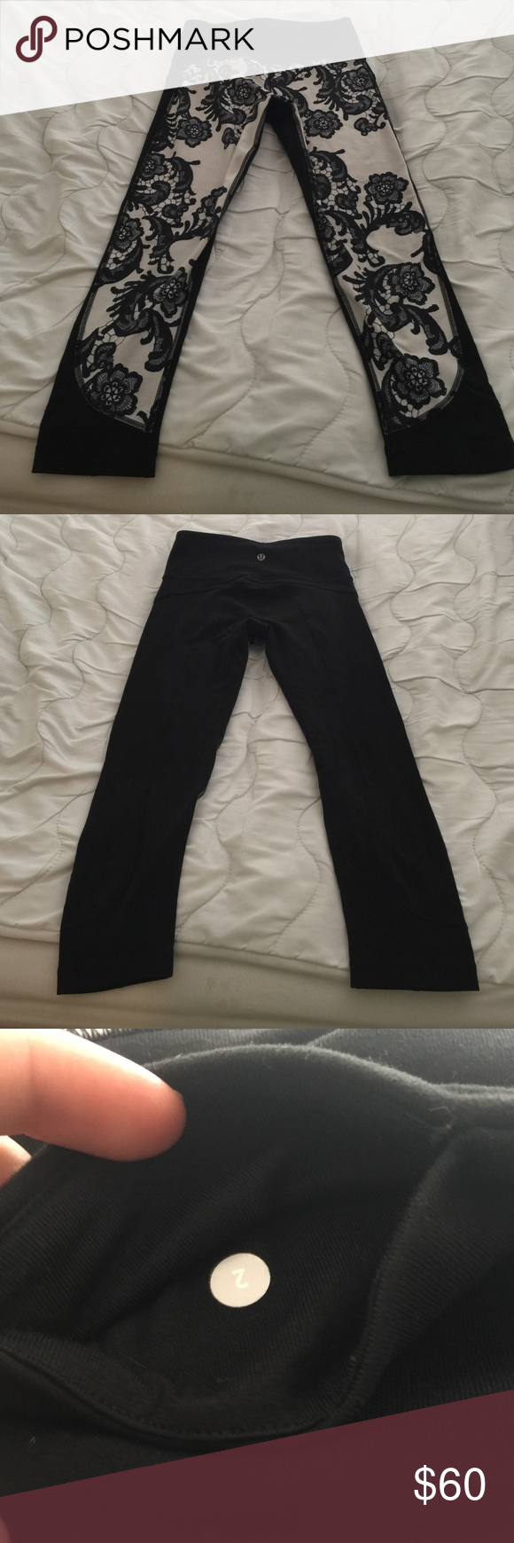 Lululemon Laceoflague crops Great condition. Bought from another posher but I have outgrown then. No staining or peeling. lululemon athletica Other