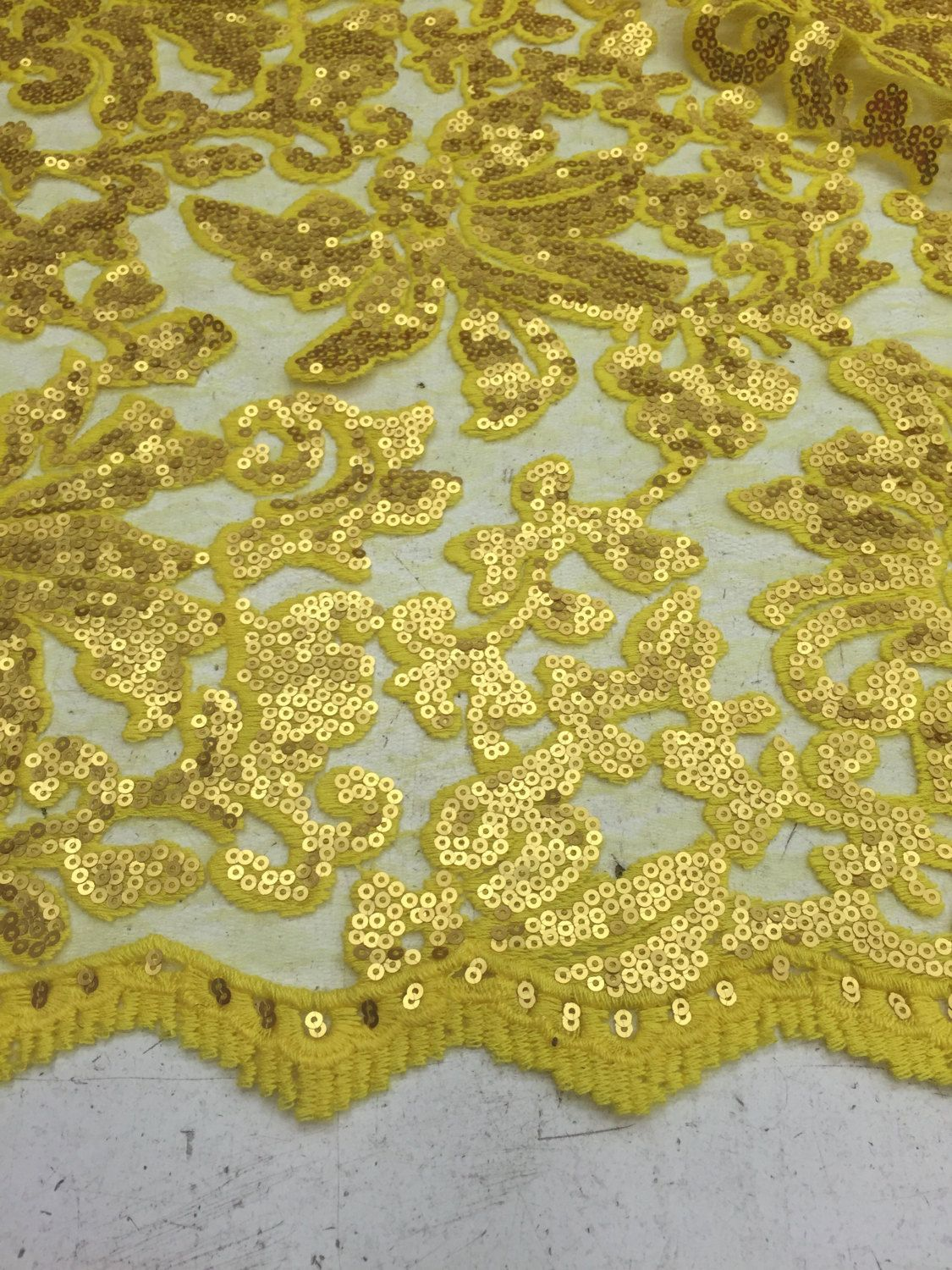 9a035a4755f Beyonce matte sequin lace matte yellow color sold by yard by la20fabrics on  Etsy