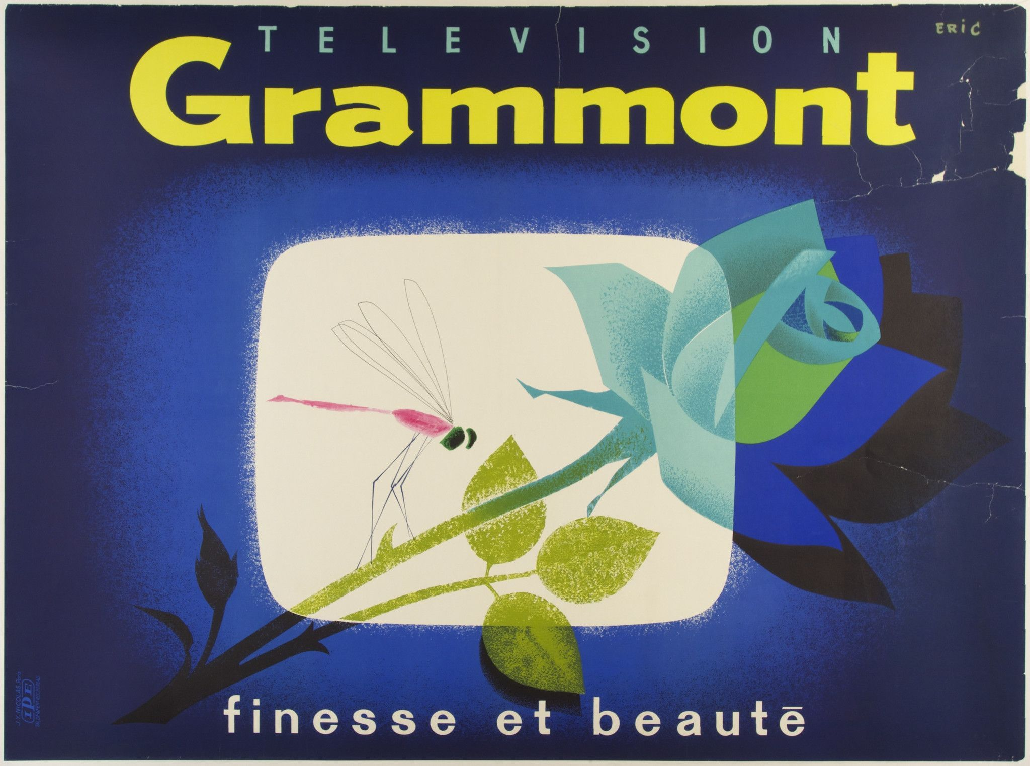 "Title: Télévision Grammont / Artist: Raoul Eric Castel /  Origin: France - c. 1960 /  63 x 47 in (160 x 119 cm) / ""Finesse And Beauty"""