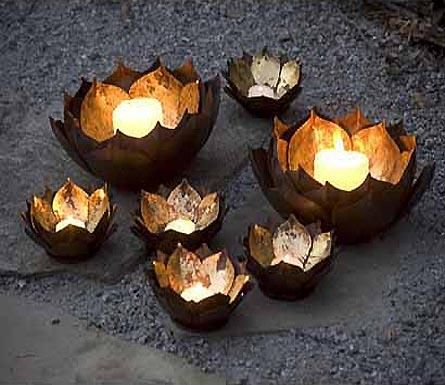 Suzie: Decor/Accessories - Mothology - The Science of Style - Metal Lotus Flower Candle Bowls - candle bowls