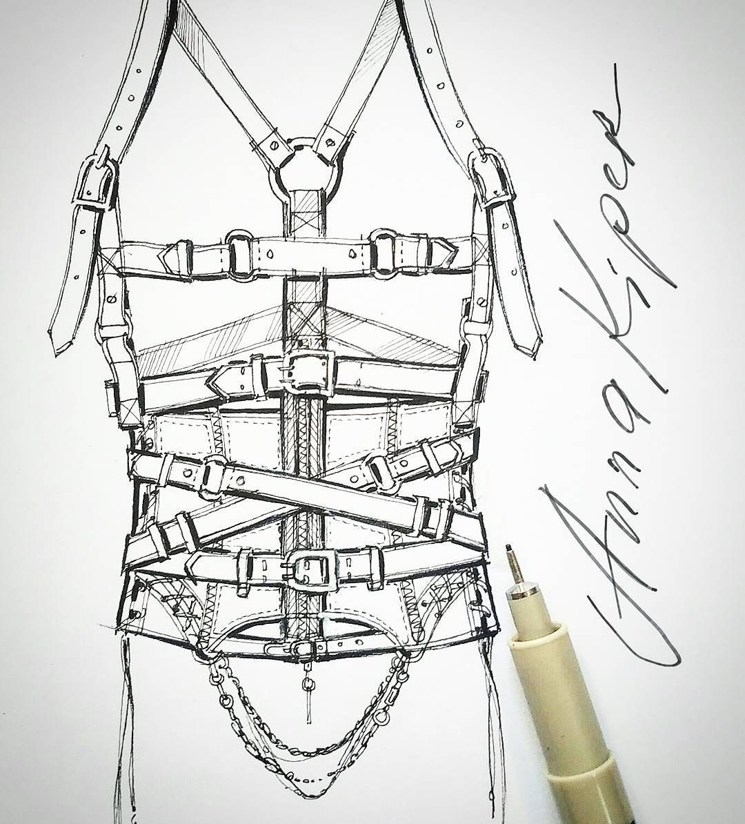 One Of My Corset Designs Illustrated With Pigma Micron Pen Annakiper Fashion Drawing Design Fashiond Fashion Sketches Pen Sketch Types Of Fashion Styles