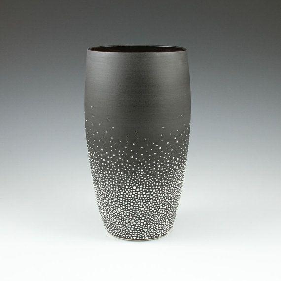 Tall Pebble Vase In Black Vase Glass Art Porcelain