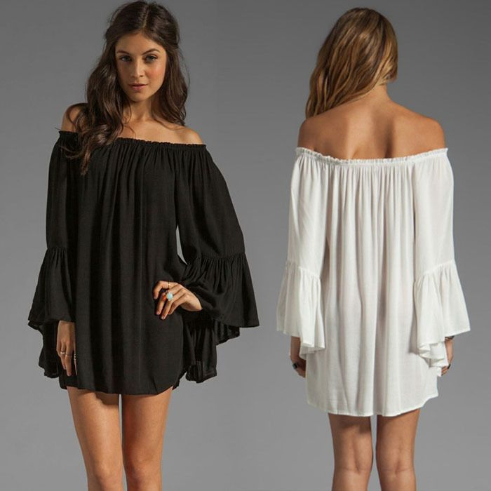 1 Sexy Lady's Boho Chiffon Off Shoulder Bell Sleeve Prom Club Party Mini Dress in Clothing, Shoes & Accessories | eBay