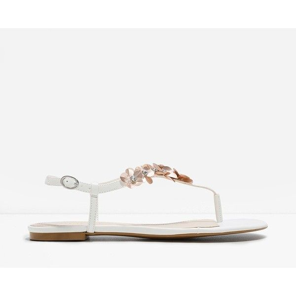 CHARLES & KEITH Floral Sequin Thong Sandals ($49) ❤ liked on Polyvore featuring shoes, sandals, white, floral sandals, white shoes, flat thong sandals, white sandals and slingback thong sandals