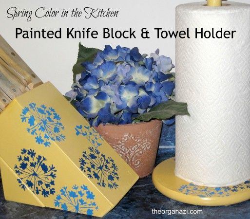 Painted Knife Block: Painted And Stenciled Knife Block And Paper Towel Holder