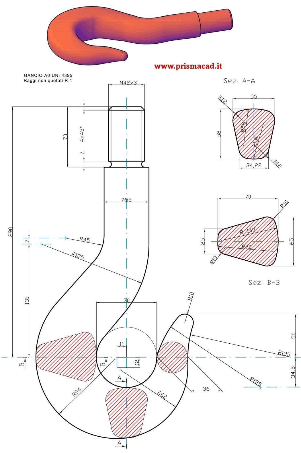 Gancio Autocad Isometric Drawing Technical Drawing Mechanical Design