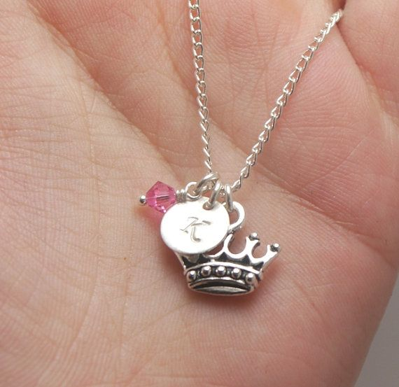 Princess Crown Necklace Personalized Girls Initial Little Girl Gift For Niece First Birthday Child
