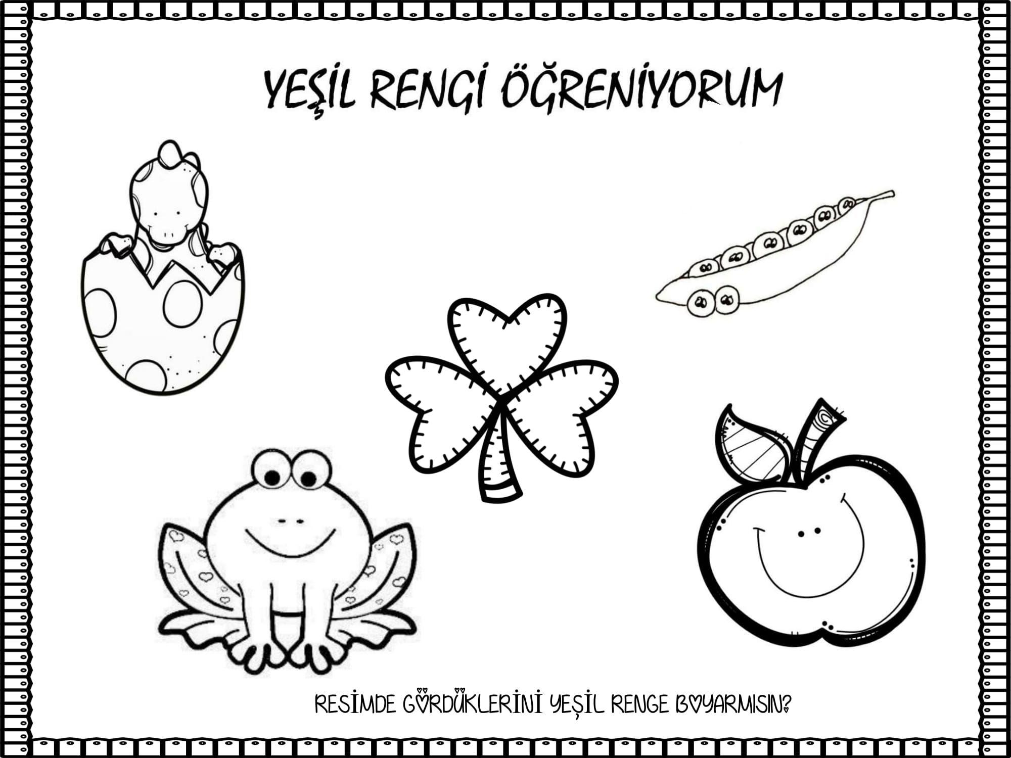 Okul Oncesi Yethil Renk Boyama Sayfasy Resim Cizmek
