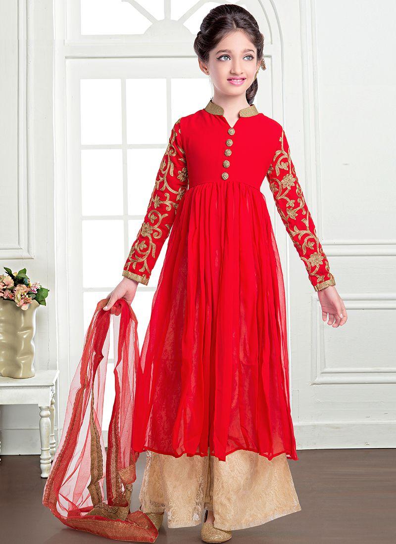Invaluable Georgette Red Plazzo Salwar Suit Wholesale Kids Hijab Segitiga Buble Georgete