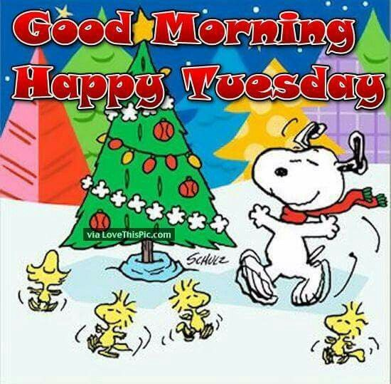 Good Morning Happy Tuesday Snoopy Woodstock And Friends Dancing