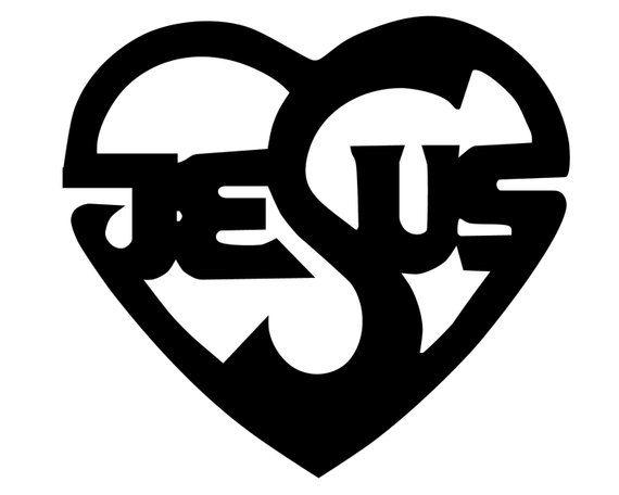 Jesus Heart Decal Jesus Written In Heart Bumper Sticker Jesus