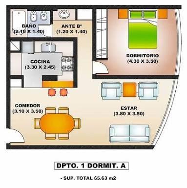 Resultado de imagen para planos de 1 dormitorio for Planos apartamentos pequenos