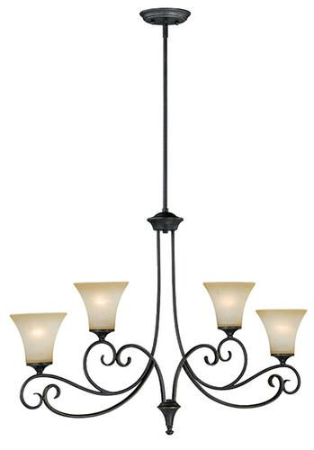 Corinth 4 light 38 dark forum patina finish with gold accents island light at