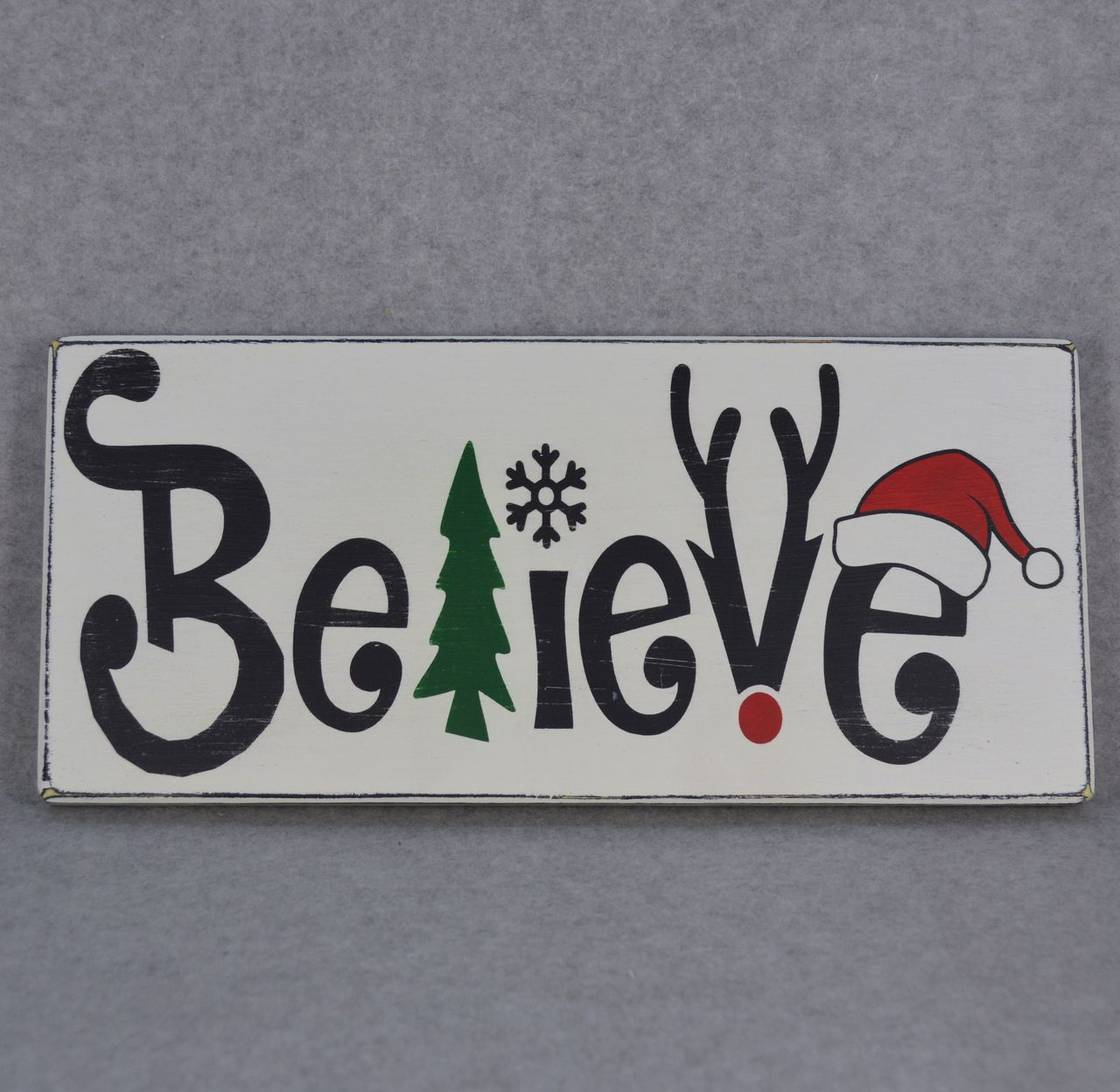 hand crafted believe christmas rustic wood sign christmas tree snowflake rudolph reindeer antlers santa hat all of my signs are hand painted and - Christmas Wooden Signs
